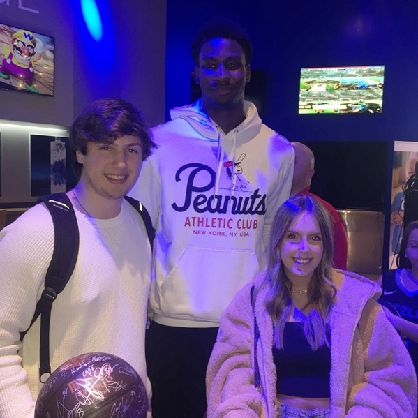 Colton Rhoads and Anna Belle George with Jaren Jackson Jr. at the Grizz Bash. - MICHAEL DONAHUE