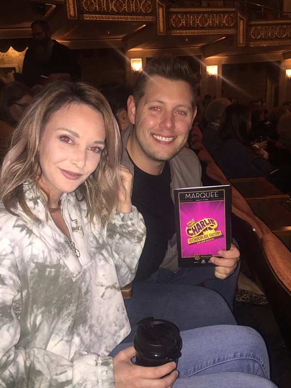 """Ashley Calhoun and Marty Brooks at the """"Charlile and the  Chocolate Factory"""" Memphis premier at The Orpheum. - MICHAEL DONAHUE"""
