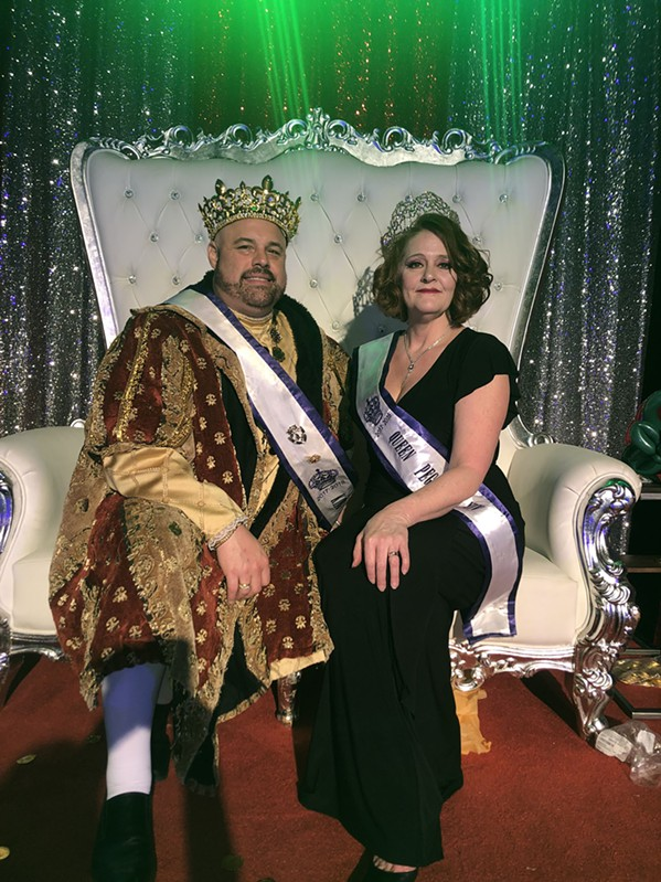 Joseph Osment and Jane  Pratt Park at the Mystic Krewe of Pegasus Mardi Gras Ball XVII