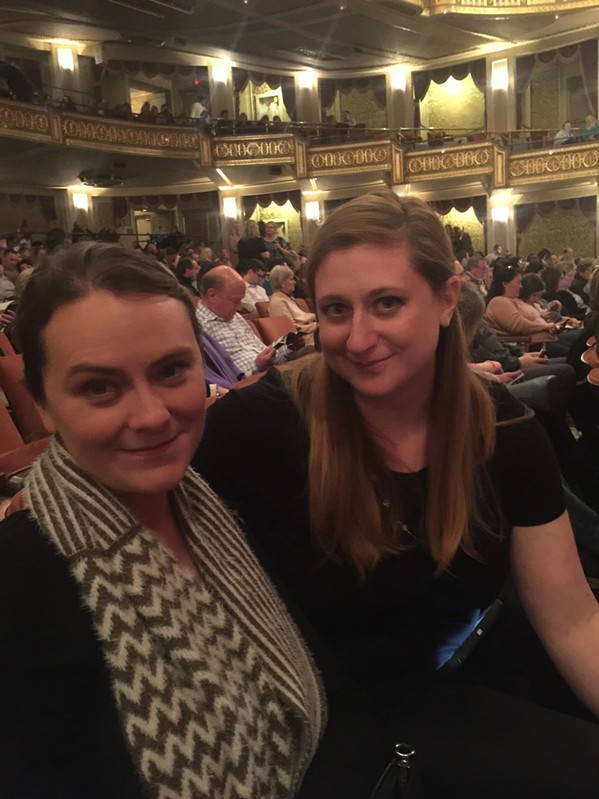 "Meghan Stuthard and Holly Whitfield at ""The Play That Goes Wrong"" - MICHAEL DONAHUE"