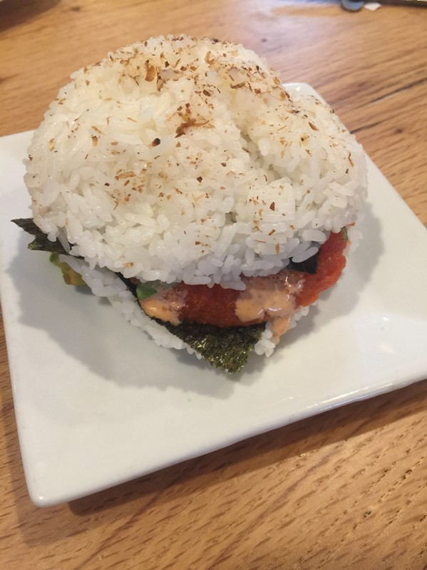 The Sushi Burger at Saltwater Crab. - MICHAEL DONAHUE