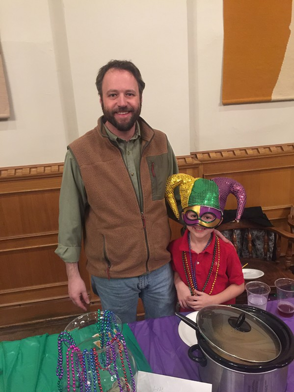 Franklin G. Barton IV and his son, Franklin Bradley Barton, manned a gumbo booth at the Krewe of Calvary Gumbo Cook-off, which was held on Fat Tuesday. - MICHAEL DONAHUE