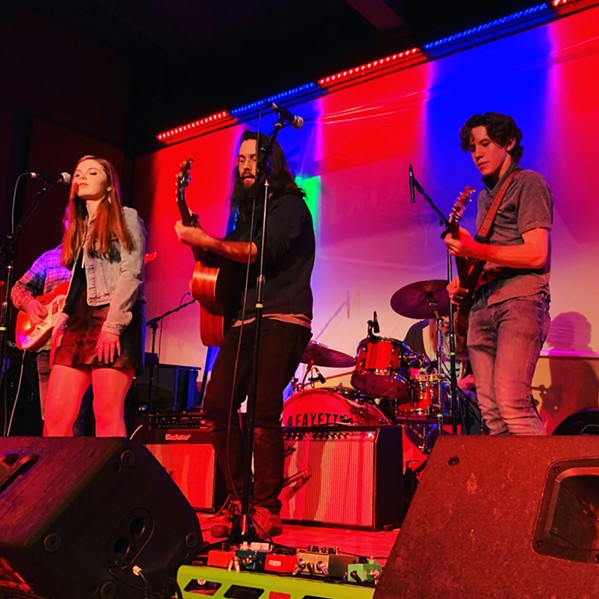 Joshua Cosby performs with School of Rock students Hadley Donaldson and Jose Espinal at Lafayette's Music Room.