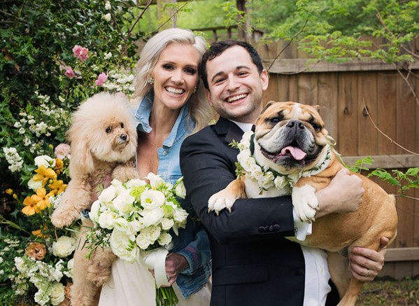 Because of COVID-19, Josh Steiner and the former Wallis Tosi were married in their backyard at a wedding that was streamed on Zoom. - PAIGE MILLER