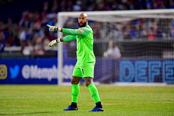 Goalkeeper and part-owner Tim Howard gives instructions during the season opener against Indy Eleven - PHOTO COURTESY MEMPHIS 901 FC