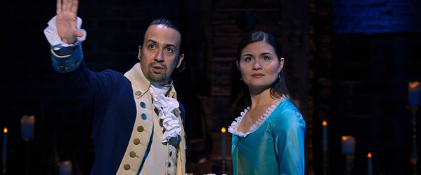 Lin-Manuel Miranda as Alexander Hamilton and Phillipa Soo as Eliza Hamilton