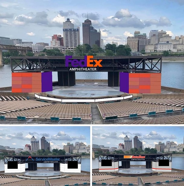 Image concepts of Mud Island Amphitheater with corporate branding. - COURTESY: JERRED PRICE