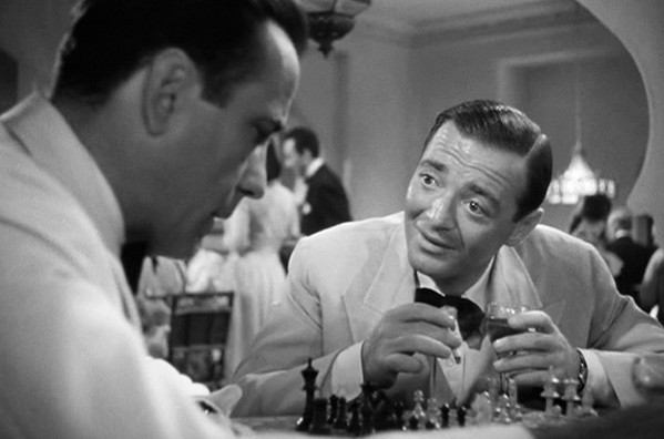 Peter Lorre (right) as Ugarte, the ill-fated human trafficker.