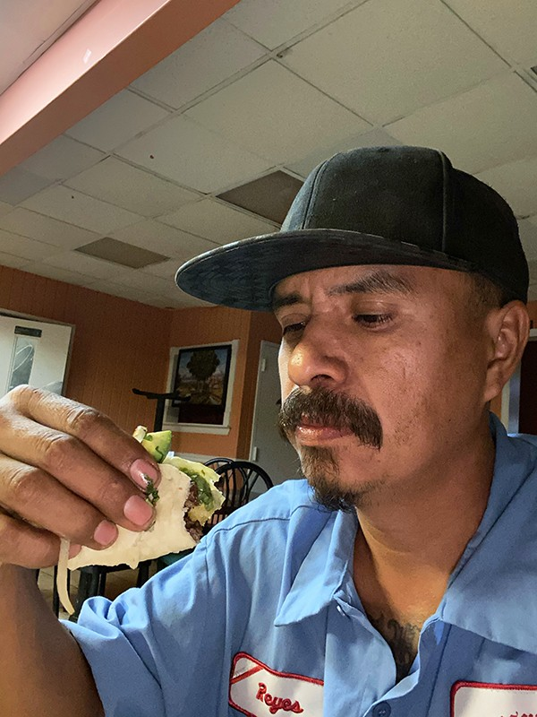 Enrique Reyes with the asada taco from La Guadalupana