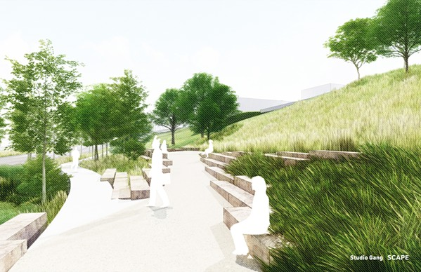 """View from the base of Cutbank Bluff, including informal stone """"scramble"""" seating. - MISSISSIPPI RIVER PARKS PARTNERSHIP"""