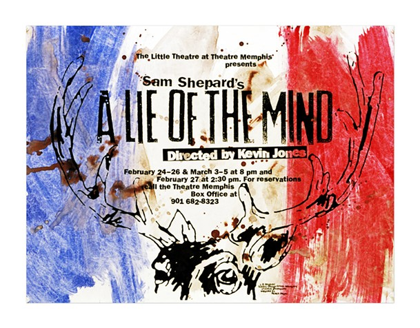 Created for Theatre Memphis' production of A Lie of the Mind. Painted print with deer blood. - LD BEGHTOL