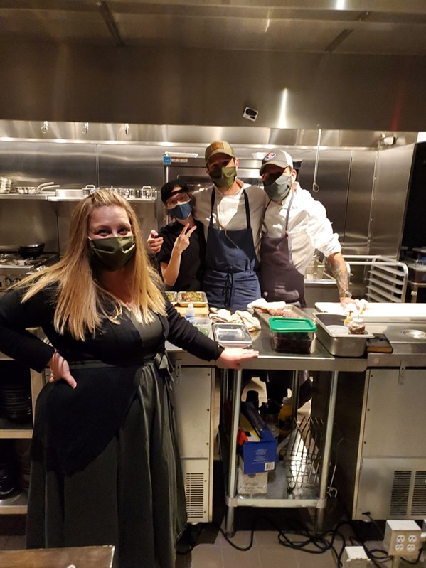 Amanda Krog, pastry chef Jasmine Bippus, chef de cuisine Zach Thomason, and David Krog in the kitchen at Dory.