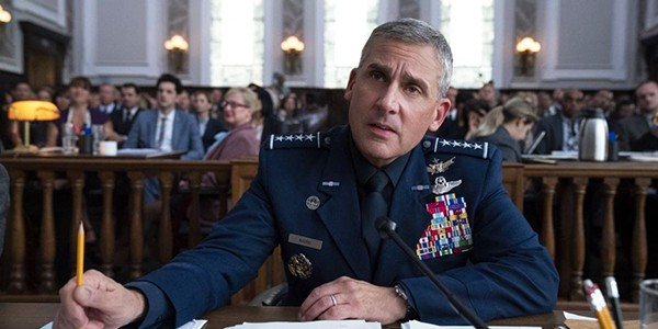 Steve Carrell sucking up oxygen in Space Force.