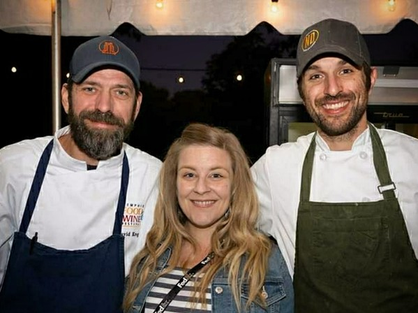 David Krog, Amanda Krog, and chef de cuisine Zach Thomason at Dory. - FRANK CHIN