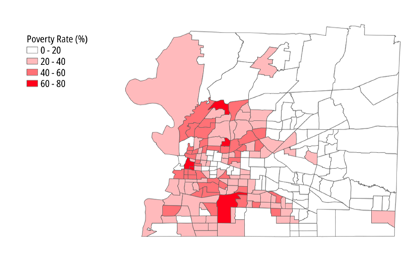 "The ""racialization"" of Memphis poverty, according to the latest Memphis Poverty Fact Sheet. - MEMPHIS POVERTY FACT SHEET 2020"