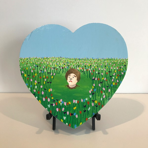 "Among the artists in ""Works of Heart"" is Alex Paulus, who contributed his ""Just Out of Sniffing Range,"" an acrylic on wood."