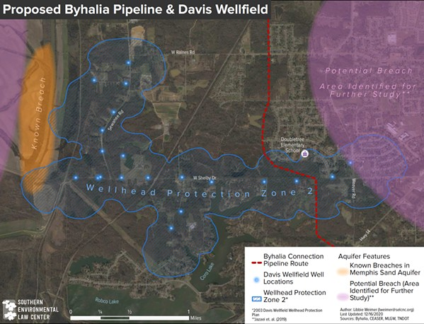 This image shows how the pipeline would cut through a drinking-water well field in southwest Memphis. - SOUTHERN ENVIRONMENTAL LAW CENTER