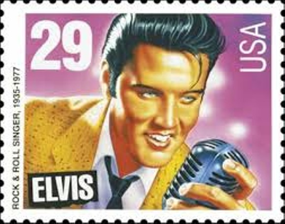 Old young Elvis stamp