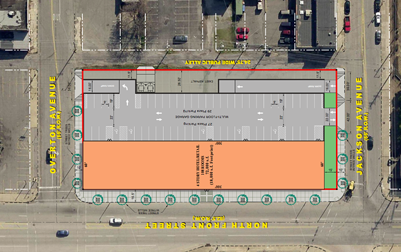 Proposed site plan for a new, four-story hotel on Front Street. - FRONT STREET GROUP LLC
