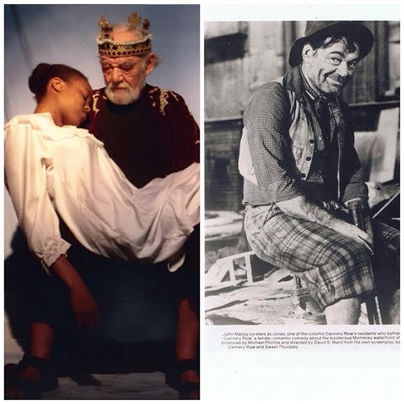 "John Malloy as King Lear (L) with Jazzy Miller. And as Jones (R) in ""Cannery Row."""