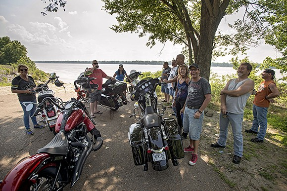 Bikers at the Shelby Forest boat ramp