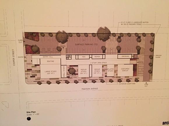 Proposed Ballet Memphis Overton Square floor plan - ARCHIMANIA