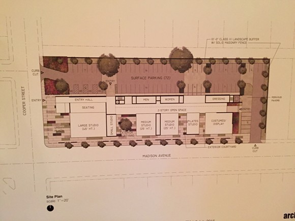 Proposed Ballet Memphis Overton Square floor plan - ARCHIMANIA
