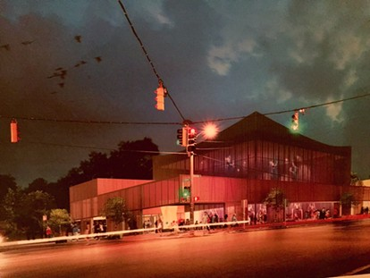 Proposed Ballet Memphis Overton Square facility nightime view - ARCHIMANIA