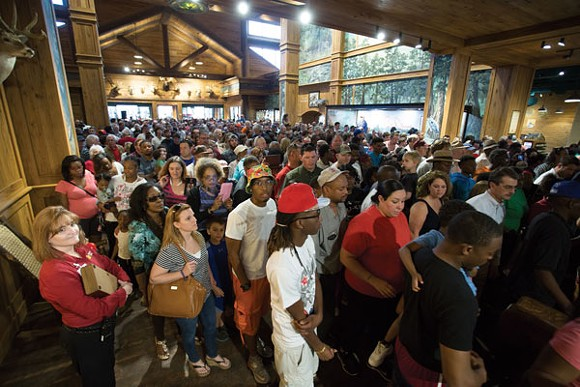 Visitors pour into Bass Pro Shops at the Pyramid. - BASS PRO SHOPS