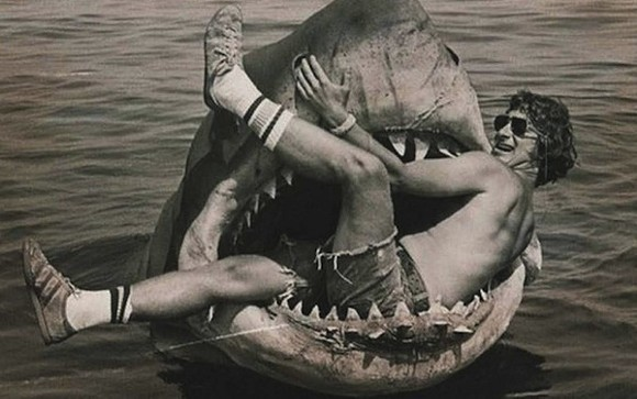 Director Steven Spielberg with Bruce, the mechanical shark star of Jaws.