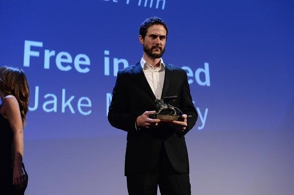Director Jake Mahaffy accepts the Orizzonti prize for Best Film at the 72nd Venice Film Festival in Italy.