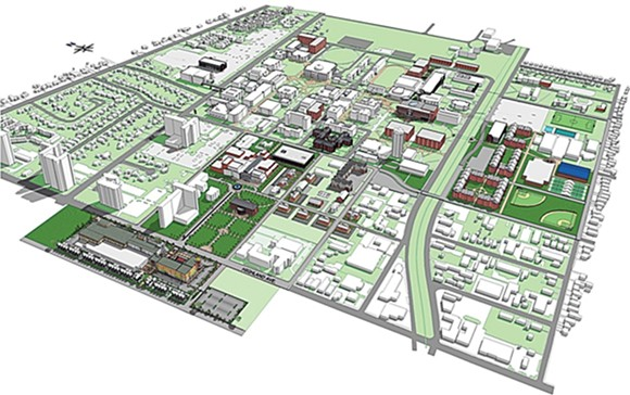 A master plan shows the proposed future of the University of Memphis campus. - UNIVERSITY OF MEMPHIS