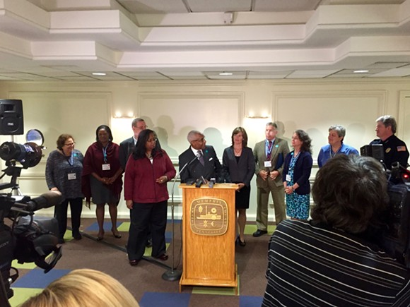 Memphis Mayor A C Wharton speaks at a news conference following the end of the second annual Sexual Assault Kit Summit for Cities. - TOBY SELLS