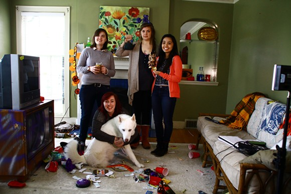 """Part of the all female cast and crew of """"Glitching"""""""