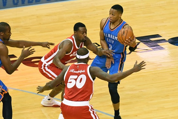 Russell Westbrook knows when to cover what's important. - LARRY KUZNIEWSKI