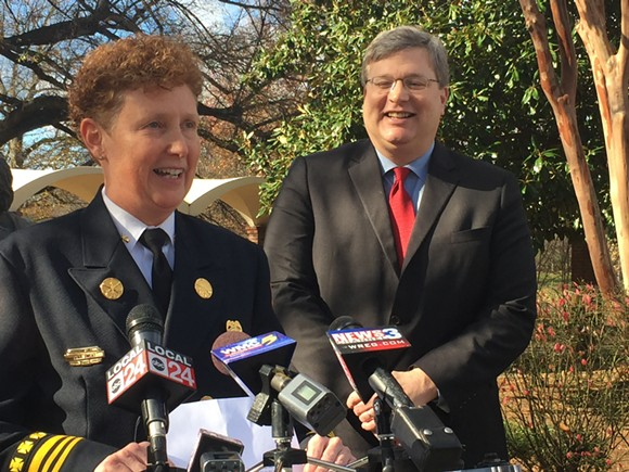 Gina Sweat greets the press after Mayor-Elect Jim Strickland announced her appointment Monday. - TOBY SELLS