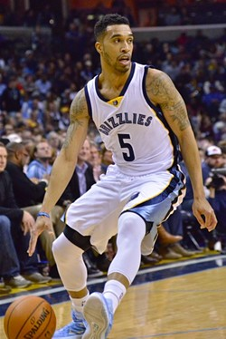 "Courtney Lee was the Grizzlies starting ""point guard"" against OKC. - LARRY KUZNIEWSKI"