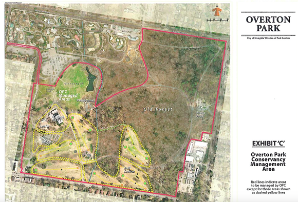 """""""Exhibit A"""" in Smith's opinion shows a red boundary line for areas controlled by Overton Park Conservancy, including the entire Greensward. - CITY OF MEMPHIS DIVISION OF PARK SERVICES"""