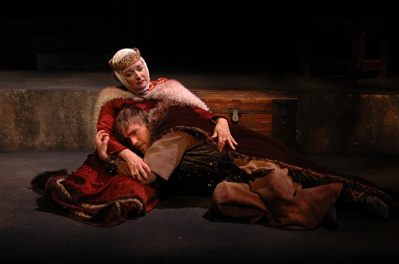 Christina Wellford Scott as Queen Eleanor of Aquitaine comforts Gabe Beutel-Gunn portraying her son Richard, in The Lion in Winter at Theatre Memphis on the Lohrey Stage, January 22 - February 7, 2106.