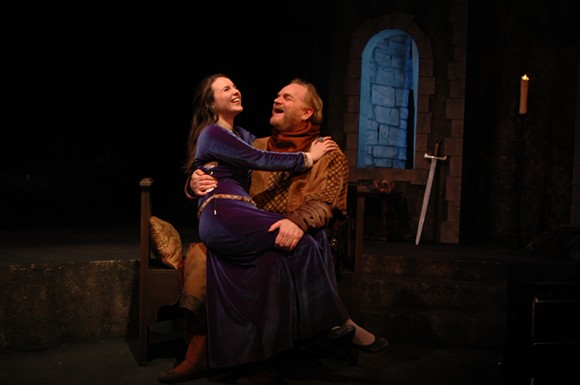Emma Vescovo as the determined Alais has a flirtatious moment with Charles K. Hodges.