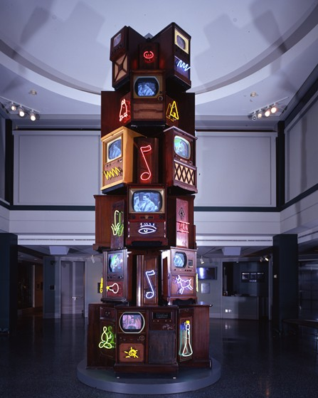 "Nam Jun Paik's ""Vid-O-belisk"" (2002) - BROOKS MUSEUM OF ART"
