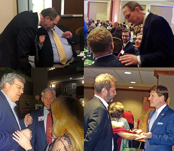 8th DISTRICT CANDIDATES AT WORK —- Attendees at Saturday's annual Republican L:incoln Day dinner at the Central Avenue Holiday Inn had a fair chance of encountering candidates in the 8th District congressional race. Top: George Flinn working tables; Bottom, left:  Mayor Jim Strickland is chatted up by candidate Steve Basar and his wife Brenda. Bottom, right: Brian Kelsey has a one-on-one conversation. - JB