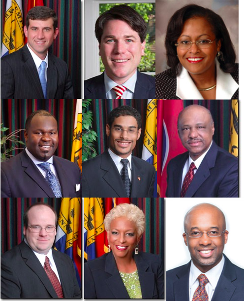 The nine co-spornsors of the bill are (left to right from top left): Reid Hedgepeth, Phillip Spinosa, Patrice Robinson, Berlin Boyd, Edmund Ford, Joe Brown, Bill Morrison, Janis Fullilove, and Martavius Jones.