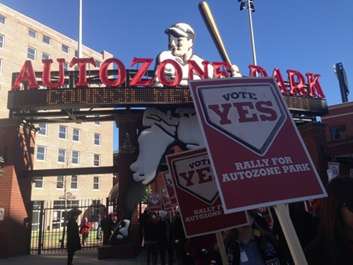 A 2014 rally in AutoZone Park before the Memphis City Council voted to purchase the park. - TOBY SELLS