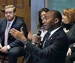 State Senator Lee Harris arguing for bill's referral