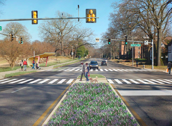 This drawing shows a re-imagined, more pedestrian friendly intersection of Poplar and Cooper. - OVERTON PARK CONSERVANCY