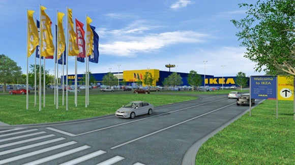 An artist's rendering shows those iconic blue panels of IKEA Memphis. - IKEA
