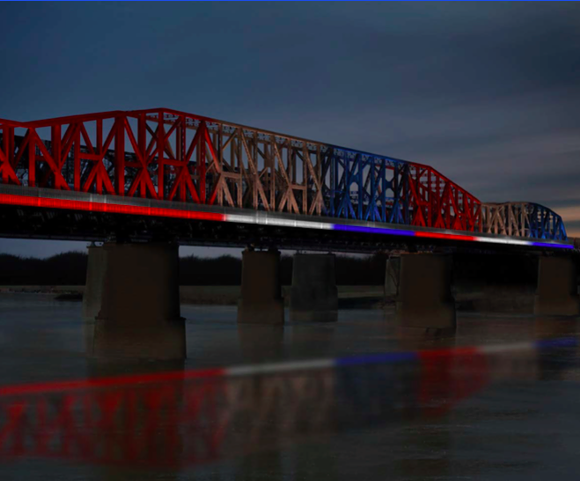 A sample of what Big River Crossing could look like with new lights. - DOWNTOWN MEMPHIS COMMISSION
