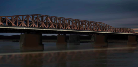"""The """"neutral"""" look of the proposed lighting on Big River Crossing. - DOWNTOWN MEMPHIS COMMISSION"""
