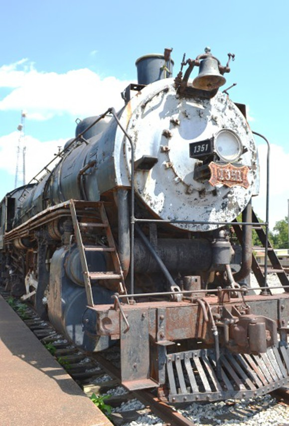 Frisco Locomotive 1351 on display in the city of Collierville.